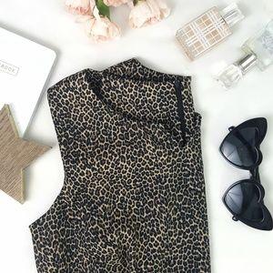 AGB // Leopard Print Midi Sheath Dress